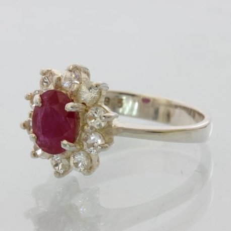 Red Ruby, no leaded glass, White Sapphire Ladies Handmade Silver Ring size 7