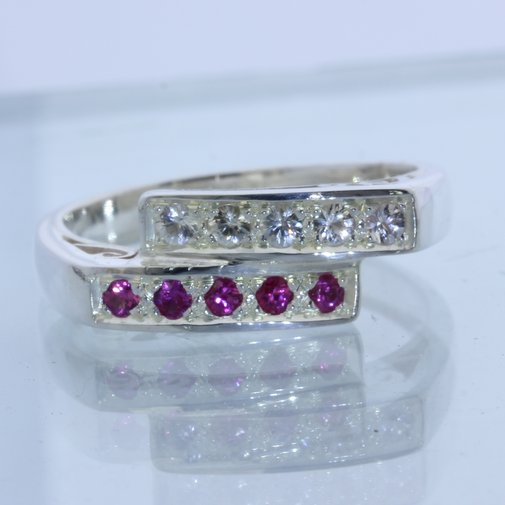 Red Ruby White Sapphire 2mm Handcraft Double Channel Set Ladies Ring size 9.5