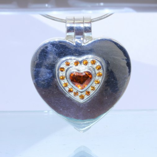 Orange Spessartite Garnet Heart Hand Tooled 925 Silver Hinged Box Locket Pendant