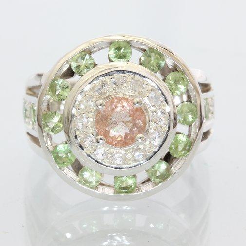 Oregon Sunstone Green Tsavorite Sapphire Handmade Silver Ladies Halo Ring size 8