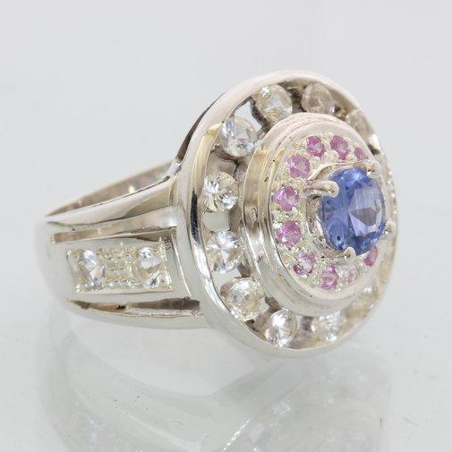 Ceylon Blue Pink White Sapphire Handtooled 925 Ladies Double Halo Ring size 6.75