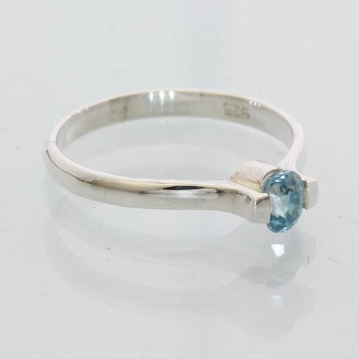Bright Clear Blue Zircon Handmade Sterling Silver Stacking Ladisa Ring size 8