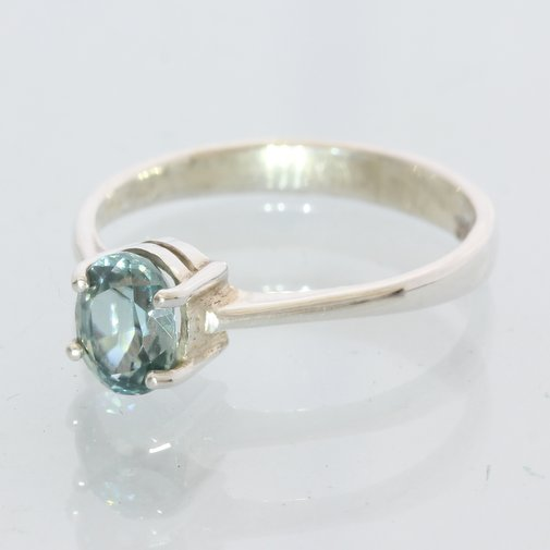 Sparkling Light Blue Zircon Handmade Sterling Silver Stacking Ladies Ring size 6