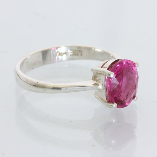 Rubellite Red Pink Tourmaline Oval Handmade Sterling Silver Ladies Ring size 8.5