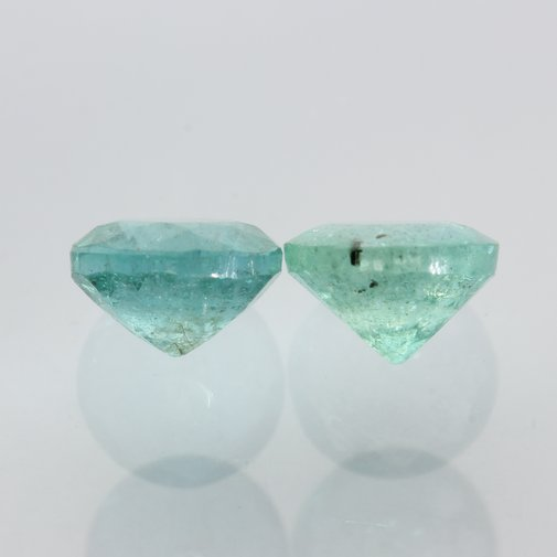 Matched Pair Untreated Emerald Green Beryl Faceted Round Cut Gems 1.02 carat