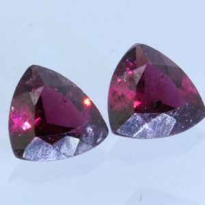 Pair Red Purple Rhodolite Garnet 5.5mm Reuleaux Triangle Untreated Gem 1.28carat