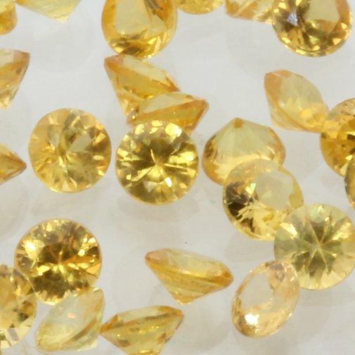 Sapphire One Yellow 2.2 mm Diamond Cut Round Accent Gemstone Average .06 carat
