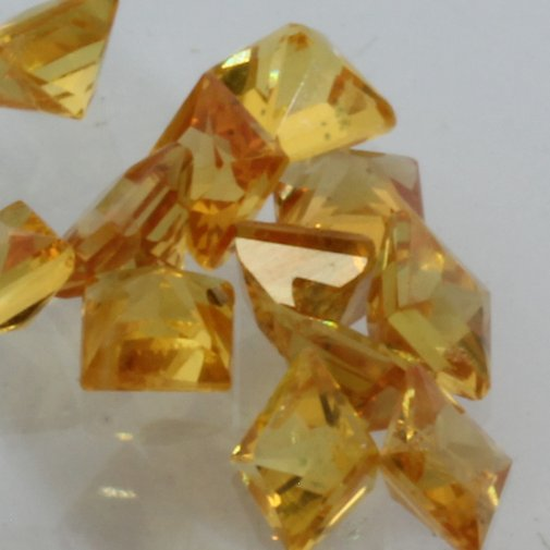 Yellow Orange Sapphire One 2.8 mm Princess Cut Square Accent Average .17 carat