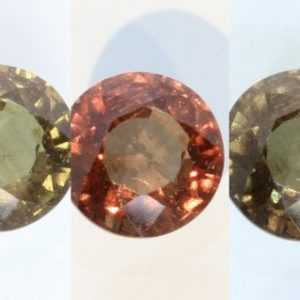 Color Change Garnet Red Orange Green Chocolate Round 6.3mm African Gem 1.31Carat