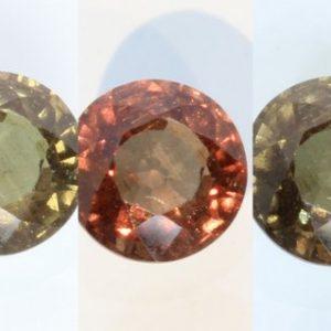 Color Change Garnet Red Orange Green Chocolate Round 6.3mm African Gem 1.31Carat