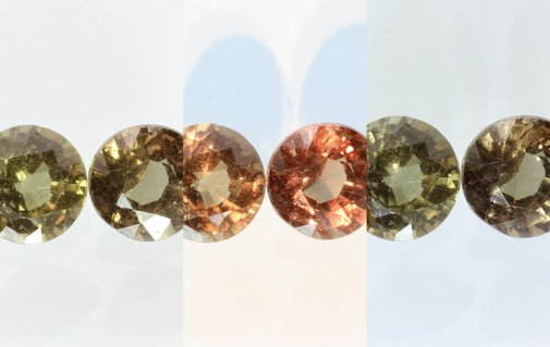 Pair Color Change Garnet Orange Green Faceted Rounds Untreated 1.85 carat total