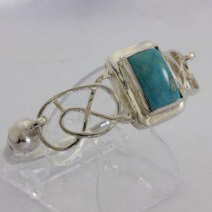 62 mm Turquoise Celtic Knot Handmade 925 Silver Hinged Bangle Bracelet 7.7 inch