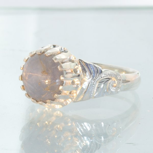 6 Beam Star Sapphire Handmade Sterling Silver Ladies Angels Flower Ring size 9