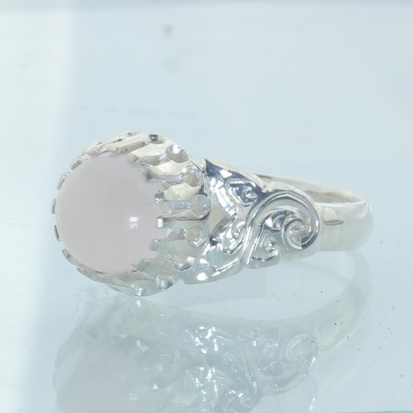 Pink Rose Quartz Handmade Sterling Silver Ladies Angels Flower Ring size 6.75