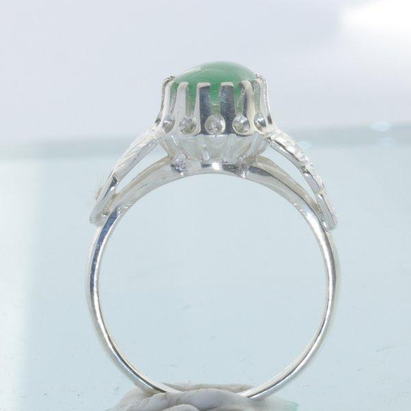 Green Burma Jade Handmade Sterling Silver Ladies Angels Flower Ring size 7.75