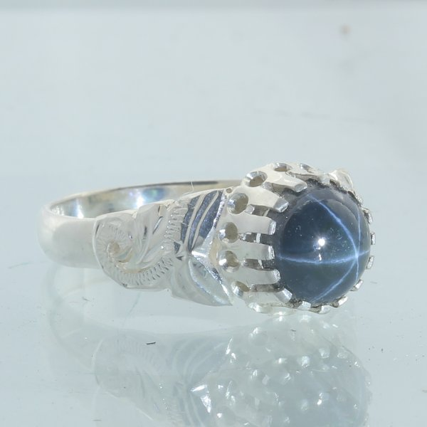 Diffuse Star Sapphire Handmade 925 Silver Ladies Angels Flower Ring size 7.25