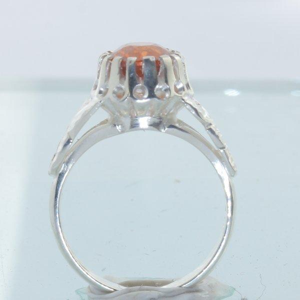 Spessartite Garnet Handmade Sterling Silver Ladies Angels Flower Ring size 6.75