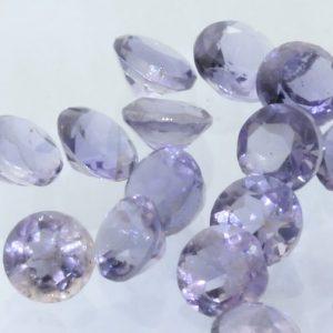 Iolite One Blue Purple Accent 2.6 mm Faceted Round VS Gemstone Average .07 carat