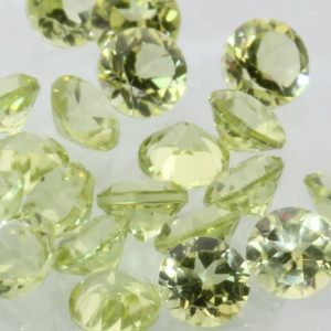 Peridot One Yellow Green 3.0 mm Diamond Cut Round Average VS Gem .12 carat each