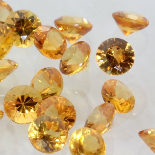 Sapphire One Yellow Orange 2.7 mm Diamond Cut Round VS Gemstone .10 carat each