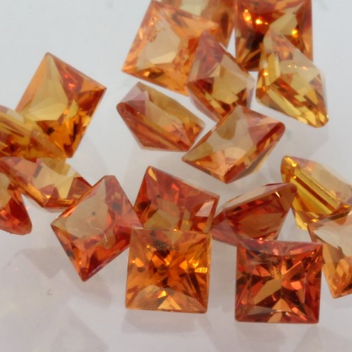 Sapphire One Red Orange 2.8 mm Princess Square VS Gemstone .15 carat each
