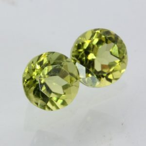 Pair Peridot Lettuce Yellow Green 6 mm Round Well Faceted Gems 1.88 carat total