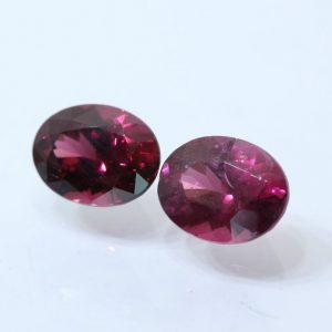 Pair Red Purple Rhodolite Garnet Faceted 7.5x6 mm Oval Natural Gems 3.07 carat