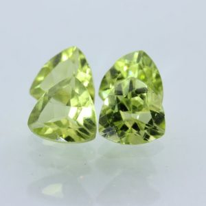 Peridot Four Gems Lettuce Yellow Green 6 mm Trillion Triangle Faceted .75 carat