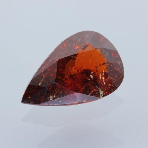 Red Spessartite Garnet Precision Faceted Pear 11x7 mm I1 Clarity Gem 2.68 carat