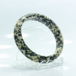 59.8 mm Yellow Black Carved Granite Natural Solid Stone Bangle Bracelet 7.4 inch