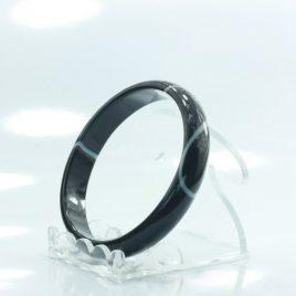56.2 mm Banded Quartz Agate Black and White Solid Stone Bangle Bracelet 7 inch