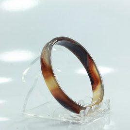 55.4 mm Caramel Color Quartz Agate Stone Bangle Comfort Cut Bracelet 6.9 inch