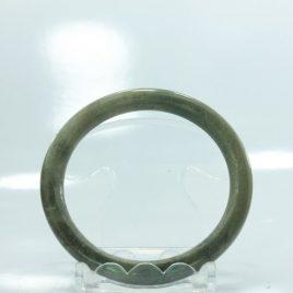 54 mm Thin Rounded Jadeite Jade Untreated Natural Stone Bangle Bracelet 6.7 inch