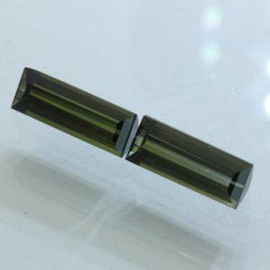 Pair Tourmaline Green Faceted Rectangle 10x4mm Natural Brazil VS Gems 2.80 carat