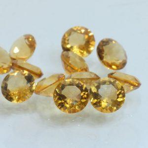 Citrine One Yellow Orange Quartz 4 mm Round VS Clarity Gems Average .20 carat