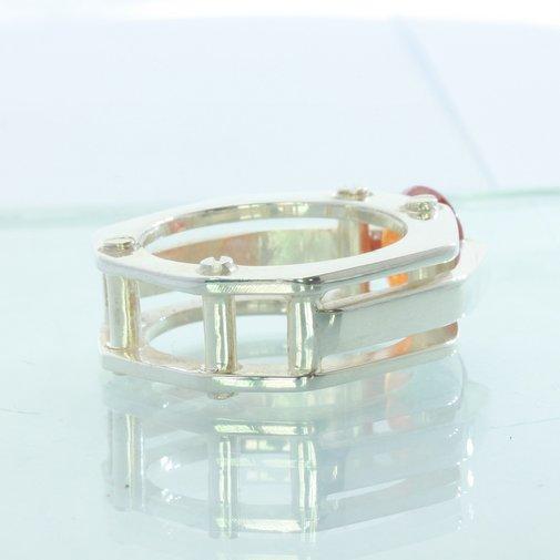 Orange Spessartite Garnet Handmade 925 Silver Solitaire Ladies Ring size 10.75