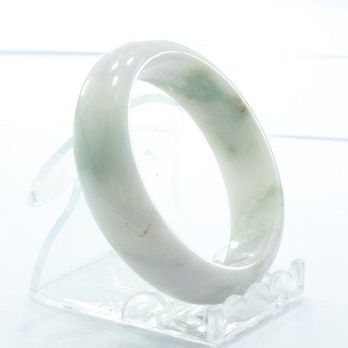 Burma Jadeite Natural Untreated Medium Stone Bangle Bracelet 6.6 inch 53.5 mm