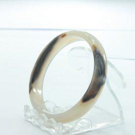 Quartz Bangle White Cloudy Stone Blend Natural Inclusion Bracelet 7.0 inch 56 mm