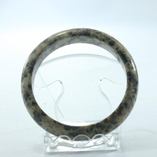 Granite Bangle Black Rust Green Carved Natural Stone Bracelet 7.0 inch 56.5 mm