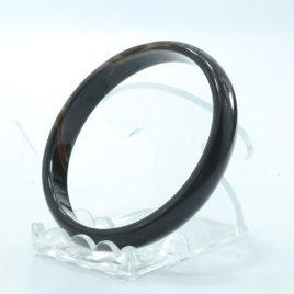 Caramel Color Quartz Agate Stone Bangle Comfort Cut Bracelet 7.7 inch 62.5 mm