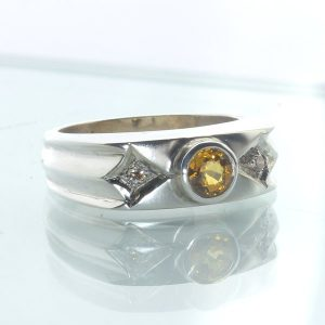 Sapphire Yellow White Faceted Round Handcraft 925 Silver Unisex Ring size 8.25