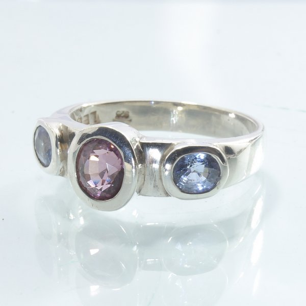Spinel Blue Pinkish Purple Handmade Sterling Silver Ladies Solitaire Ring size 8