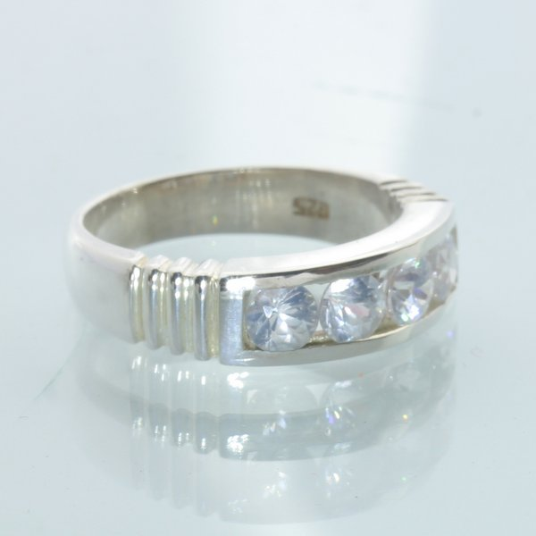 Zircon White 4mm Natural Handmade Unisex Channel Set Sterling Silver Ring size 7