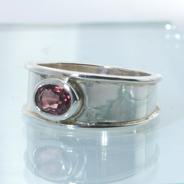Spinel Peach Red Burma Handmade 925 Sterling Silver Unisex Gents Ring size 10.5