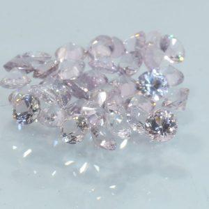 Sapphire One Pink White 2.7 mm Diamond Cut Round Ceylon VS Gem Average .08 carat