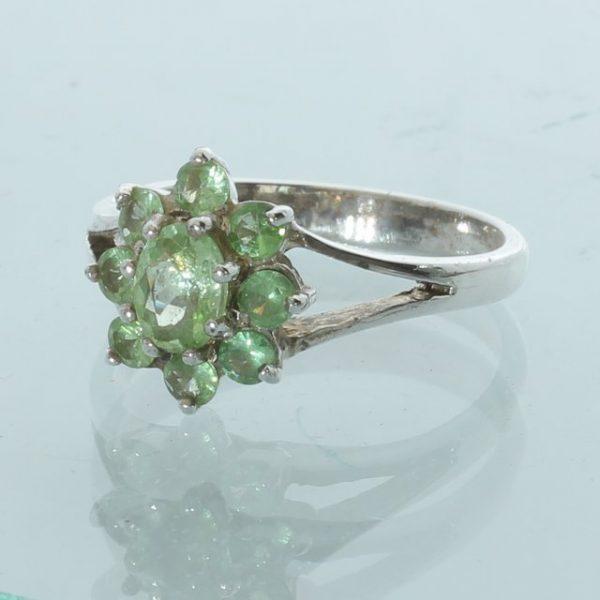 Tsavorite Garnet Light Grass Green Handcrafted Sterling Silver Ring size 7.25