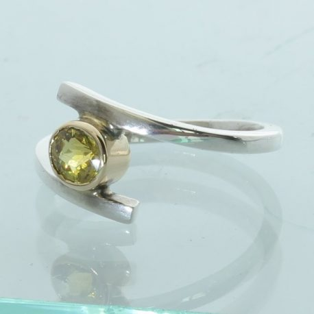 Green Yellow Mali Garnet Handtooled Sterling Silver Solitary Ladies Ring size 7