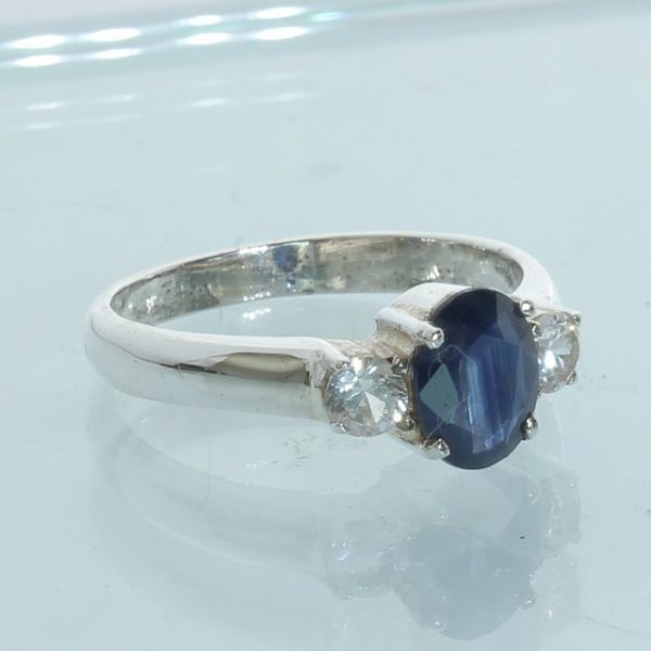 Blue Sapphire White Sapphire Handcrafted Sterling Silver Unisex Ring size 7.25