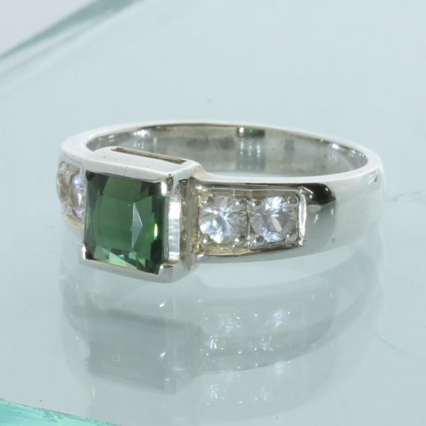 Tourmaline Green Zircon White Handmade Sterling Silver Unisex Ring size 9