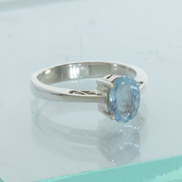 Blue Aquamarine Handmade Sterling Silver Solitary Ladies Ajoure Ring size 9.5